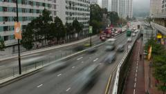 Inner city traffic over viaduct road, twilight view, smooth time lapse Stock Footage
