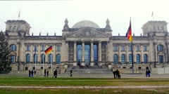 View of the facade of the Berlin bundestag in a foggy day Stock Footage