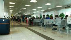 Passenger lounge at international ferry terminal, time lapse shot Stock Footage