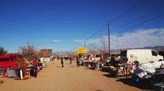 Wide Shot Small Town Swap Meet- Kingman Arizona Stock Footage