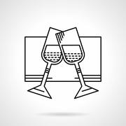 Glasses of champagne black flat line vector icon - stock illustration