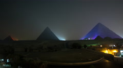 Time Lapse of Light Show at the Great Pyramids at Giza - Egypt Stock Footage