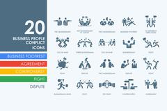 Set of business people conflict icons Stock Illustration