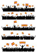 Cheering or Protesting Crowd Spain - stock illustration