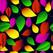 Seamless vector pattern of many-colored  leaves. - stock illustration