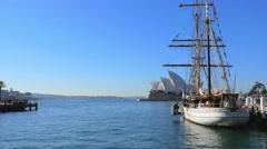 Tall Ship, Sydney Harbour, 4k Stock Footage