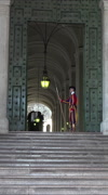 Rome Italy Vatican Swiss Guard at St Peters Cathedral vertical HD Stock Footage