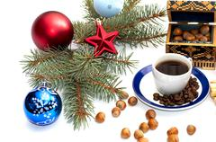coffee, fir-tree branch, casket and forest nutlets - stock photo