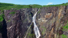 Scenic aerial view of famous Voringfossen waterfall in Norway. Stock Footage