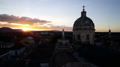 Sunset view from Iglesia La Merced in Granada Stock Footage