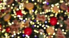 Bokeh made of Christmass tree decorations Stock Footage