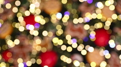 Bokeh made of Christmass tree decorations - stock footage