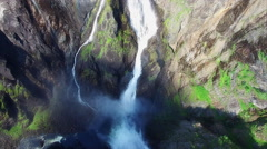 Voringfossen waterfall in Norway, famous tourist attraction. Stock Footage
