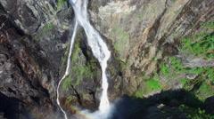 Scenic aerial view of massive Voringfossen waterfall in Norway. Stock Footage