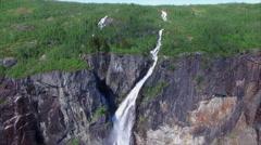 Voringfossen waterfall in Norway, popular tourist attraction. - stock footage
