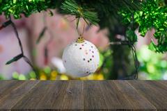 Wood terrace and Christmas tree decoration Kuvituskuvat