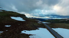 Calm cloudy evening above Aurlandsfjellet mountain pass in Norway. Stock Footage