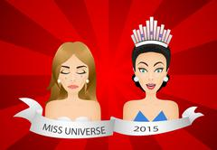 Miss universe 2015 contest. Wrong winner - stock illustration
