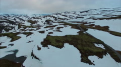 Aerial view of Aurlandsfjellet mountain pass in Norway. Stock Footage
