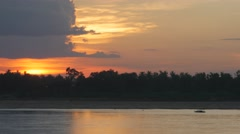 Sunset and Mekong river with boat,Kratie,Cambodia Stock Footage