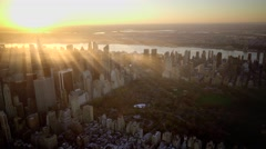Aerial establishment shot of new york city skyline. business buildings district Stock Footage