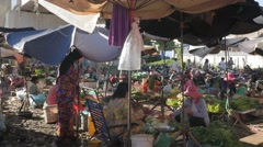 Stock Video Footage of Vegetable market under bridge,Kampong Cham,Cambodia