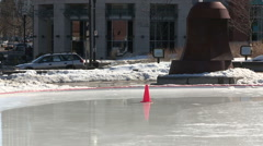 Ice staking rink in Waterloo melts in warm winter weather Stock Footage