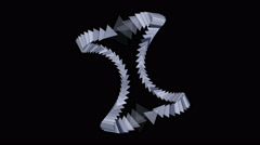 4k Triangle gear arrow card,technology science,zipper chains geometry recycling Stock Footage