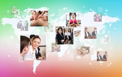 Collage of human professions on the big map. Stock Photos