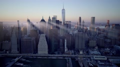 Aerial establishment shot of new york city skyline. business buildings district Arkistovideo