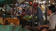 Vegetable market,Kampong Cham,Cambodia Stock Footage