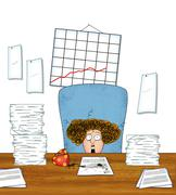 Stressed Woman Office Worker With Piles of Paperwork - stock illustration