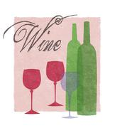 Stylized Wine Glasses and Bottles Graphic - stock illustration