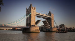 Boat Sails Under London Tower Bridge Stock Footage