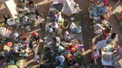 Market seen from above,Kampong Cham,Cambodia Stock Footage