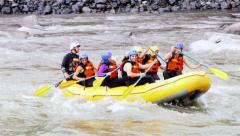 Team Building On Extreme Whitewater Rafting Trip - stock footage