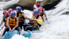 Extreme Whitewater River Rafting Sports Stock Footage
