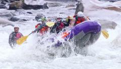 Adrenaline Intensive Whitewater Rafting Slow Motion Stock Footage