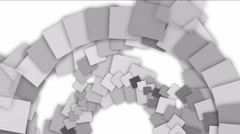 4k Spiral ladder stair tunnel background,block square card paper art particle. Stock Footage