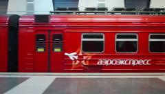 Watching from the window of the train Aeroexpress Stock Footage