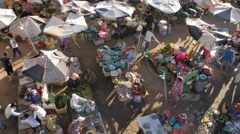 Market from above,Kampong Cham,Cambodia Stock Footage