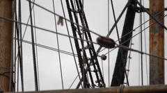 1570's Tall Sail Ship Rigging Pan Up CU Stock Footage