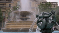 Trafalgar Square Fountain London Stock Footage
