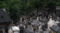 Old Paris Graveyard Viewed from Hill Stock Footage