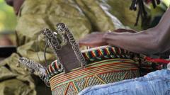 Man Plays African Conga Drum CU Stock Footage