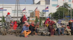 Porters waiting for customers,Poipet,Cambodia Stock Footage