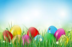 Happy Easter background with easter eggs in grass Stock Illustration