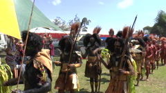 August 15 201 Papuan in native costumes wait to perform at native festi Stock Footage