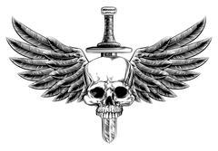 Stock Illustration of Woodcut Winged Skull Sword Insignia