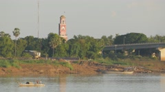 Old french lighthouse at Mekong river,Kampong Cham,Cambodia Stock Footage